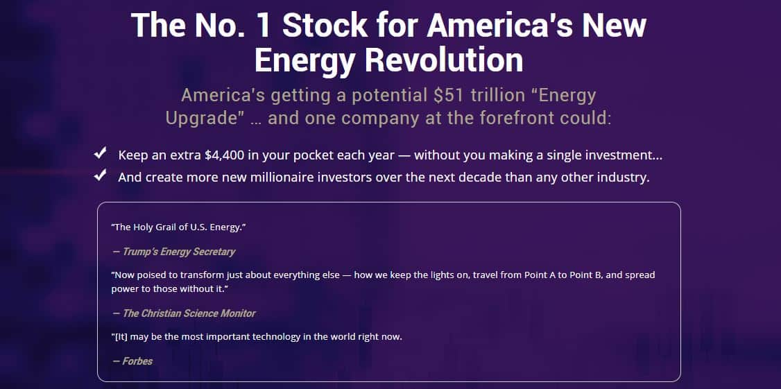 No.1 Stock For America's New Energy Revolution