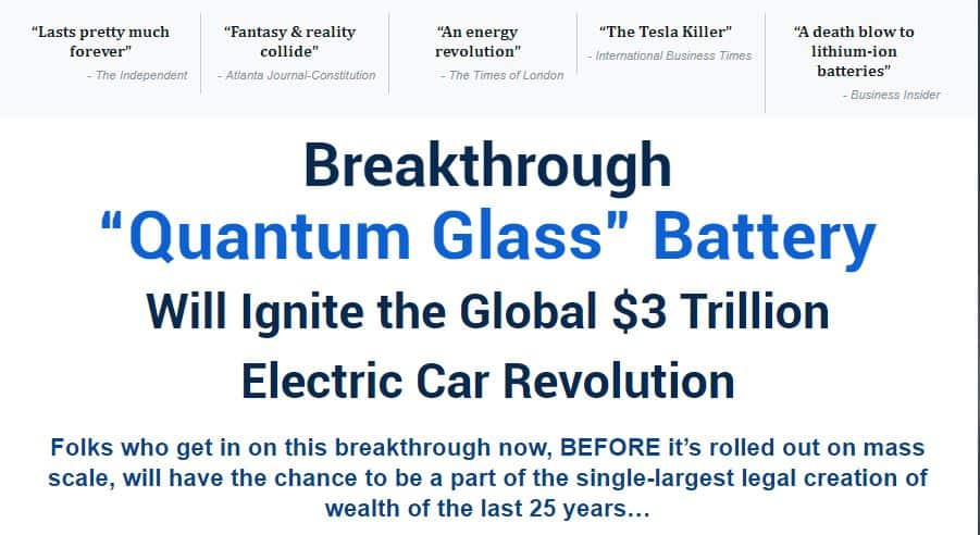 Quantum Glass Battery
