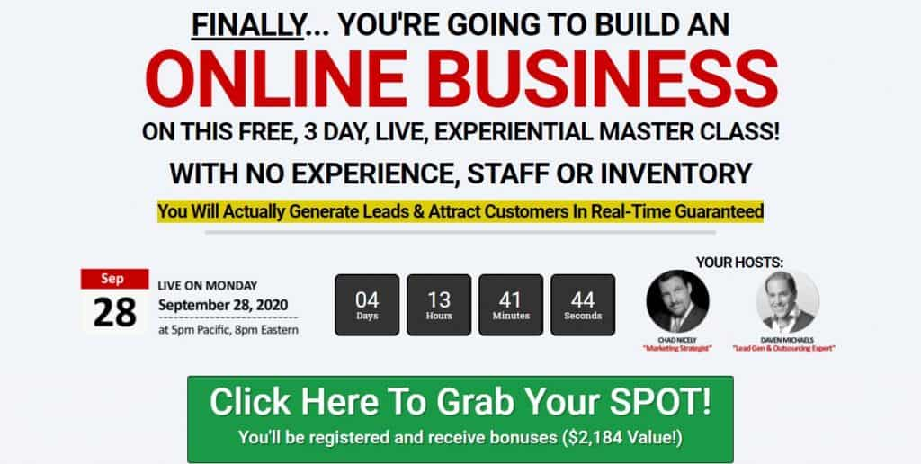 3 Day Business Masterclass (Chad Nicely and Daven Michaels)