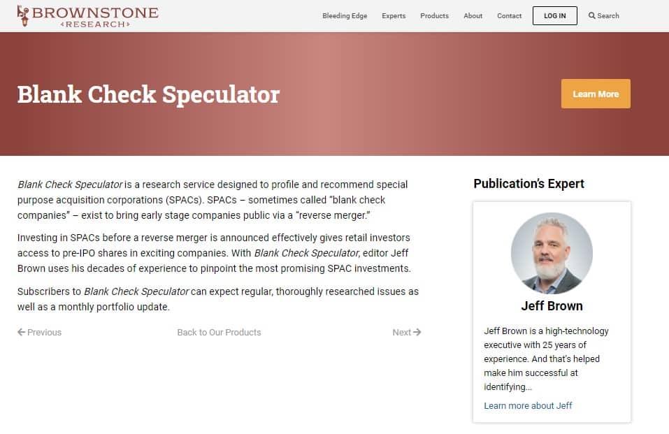 Blank Check Speculator (Jeff Brown)
