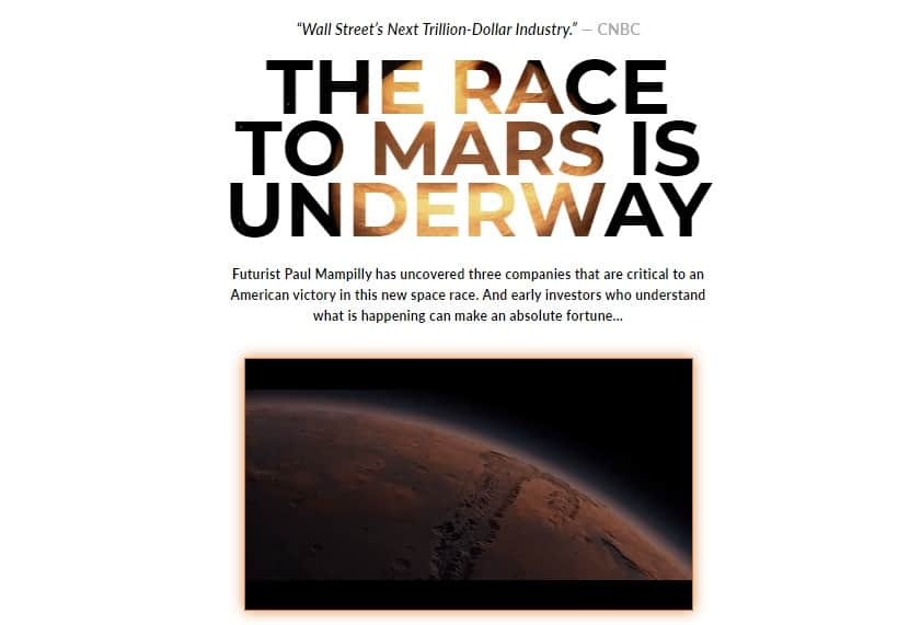 The Race to Mars is Underway (paul mampilly)